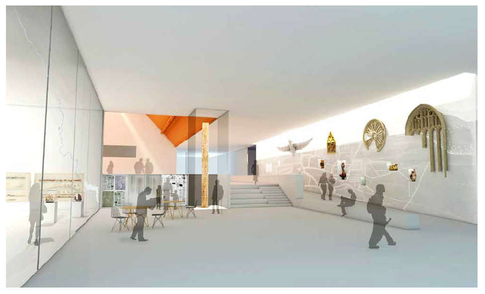 Concept sketch of the foyer area of The Hold)